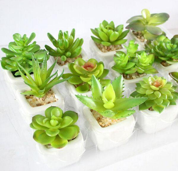 12pcs/pack spring autumn series bonsai flower pots planters artificial green plants mini ceramic pots flower vase