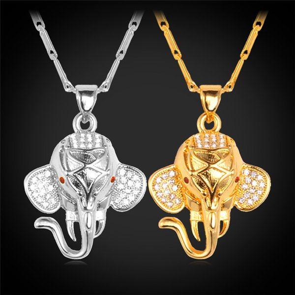 U7 Cute Elephant Pendant Necklace Cubic Zircon 18K Gold/Platinum Plated Fashion Jewelry Hot Party Gift For Women P311