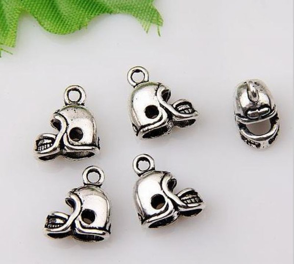 best selling Hot ! 200pcs Antique Silver 3D Small Football Helmet Charms pendants DIY Jewelry 13 x11mm (371)
