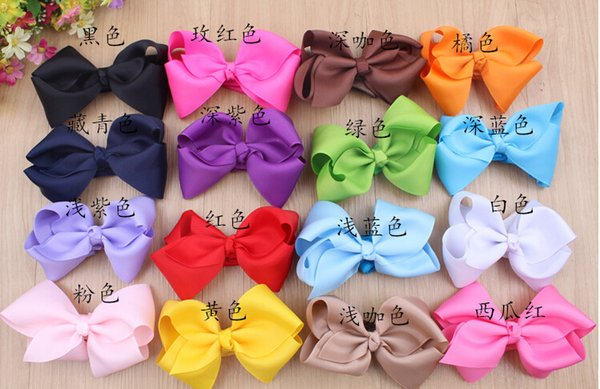 6INCH big bow hairpin! Christmas gift! Children girls hair accessory!baby girl Boutique Hair Bows Alligator Clip Grosgrain Ribbon 100pcs/