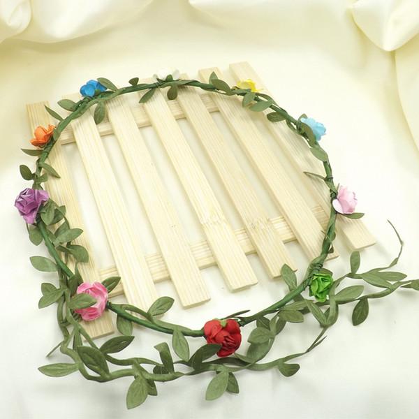 best selling Travel Beach Leaves Rattan Colorful Wedding Garlands Bridesmaid Bridal Headband Flower Crown Bohemia Head Flower Girl Hair Accessory