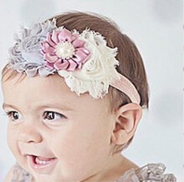 Großhandel Top Baby Shabby Chiffon Satin Blume Stirnbänder Mit Strass Mädchen Elastische Haarbänder Haarschmuck Kinder Weihnachten Taufe Haarband Von