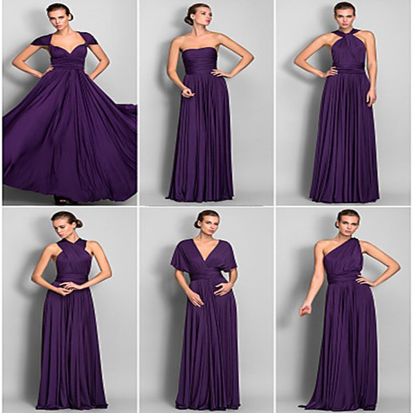 Convertible bridesmaid dress long chiffon evening