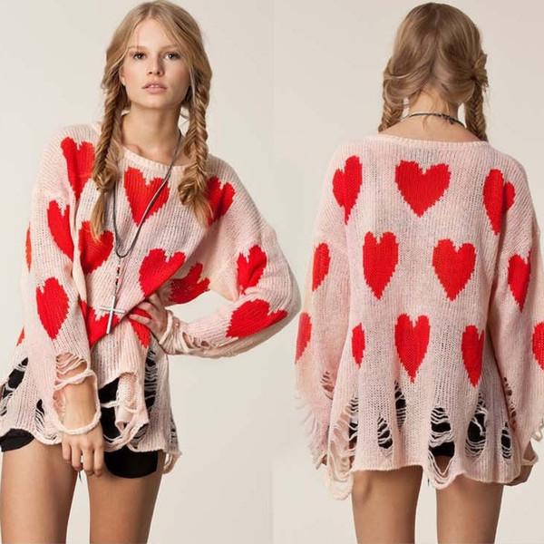 2014 Women Sweater European Brand Wildfox Baggy Cute High Street Pullovers Heart Loose Oversized Knitted Knitwear Dropship
