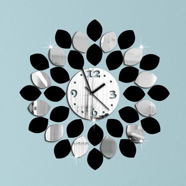 top popular Big Leaf Black And Silver Wall Clock Modern Design Luxury Mirror Wall Clock 3d Crystal Mirror Wall Clocks Free Shipping 2020