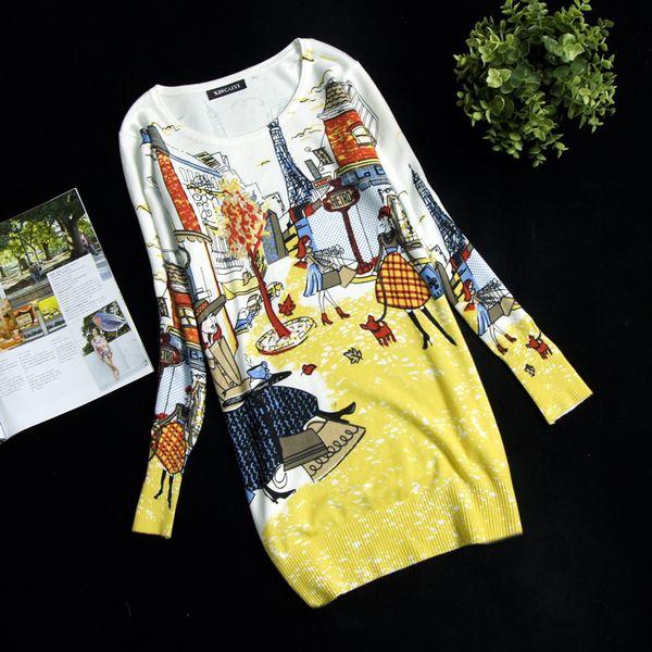 Atacado- nova primavera camisola das mulheres pulôver longo design camisola vestido plus size solto blusa básica de alta qualidade