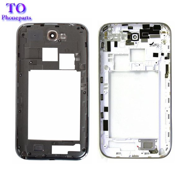 For Samsung Galaxy Note 2 N7100 N7105 Cover Case Mobile Phone Note2 Middle Frame Housing Back Bezel Black White Repair Parts