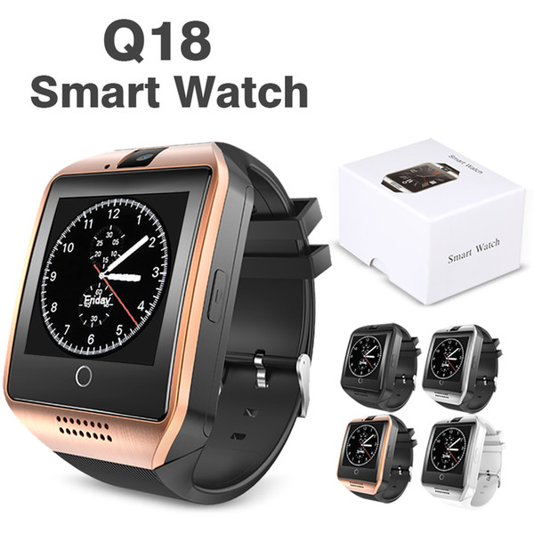 top popular Q18 Smart Watch Bluetooth Wristband Smart Watches TF SIM Card NFC with Camera Chat Software Compatible Android Cellphones with Retail Box 2020