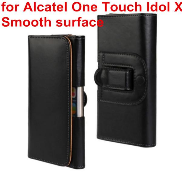Caso della copertura della cassa della clip della cinghia di cuoio dell'unità di elaborazione della fondina più nuova per Alcatel One Touch Idol X 6040 6040A 6040D Borsa per telefono