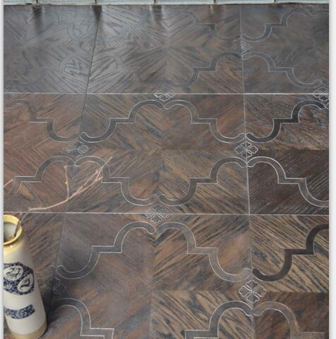 Metal flooring Stainless steel wood floor Copper wood floor Mosaic floor Combination floor High-end custom floor Design House floor Jade inl