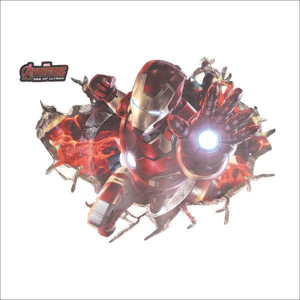 The Avengers 3D Wall Art Decal for Children PVC Removable Iron Man Wall Stickers for Kids Room Bedroom Home Decor