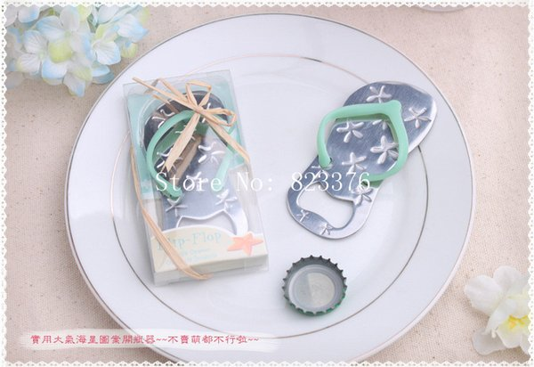 DHL Freeshipping 100pcs Flip flop bottle opener with starfish design wedding favor guest gift green