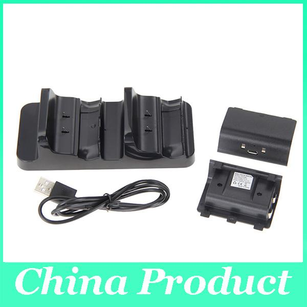 New Accessories Dual Charging Dock Station Charger + 2 Batteries for XBOX ONE Wireless Controller Hot Sale 010208