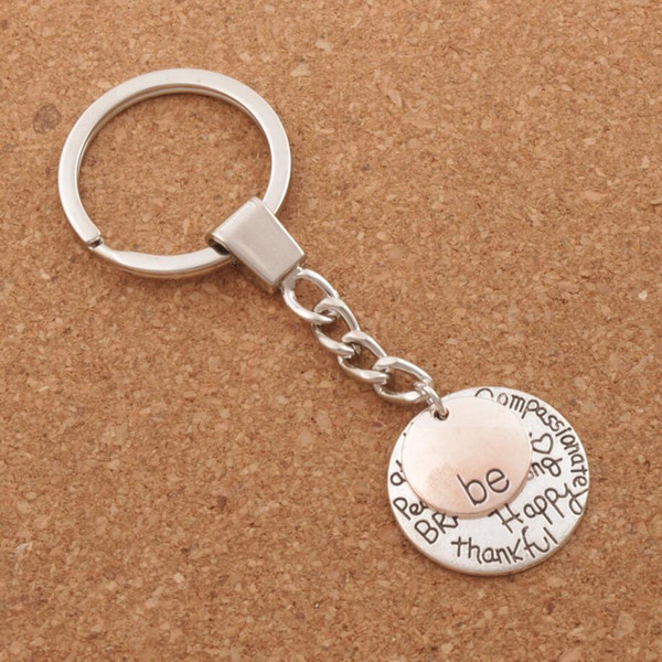 Be Happy Keychain Bag Pendant 15pcs/lot Be Friend Brave Happy Strong Car Key Chain Ring Holder K1622/3