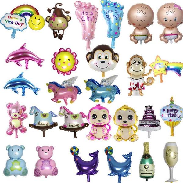 Vendita calda 10 pz / lotto Angelo Baby Shower Foil Palloncini Baby Boy Girl Birthday Party Decorazioni mini orso + bambino + piede + bottiglia Palloncino