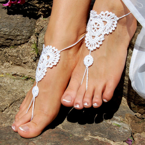 1 Pair OR 2 PCS Beach Wedding Shoes,Crochet Barefoot Sandals, Wedding Accessories, Nude Shoes, Foot Jewelry, Anklet Sexy Nude Shoes, Yoga