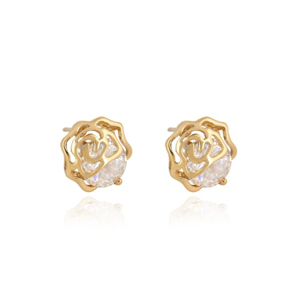 Clear Cubic Zirconia CZ Yellow Gold Color Hollow Rose Flower Cute Small Mini Stud Earrings Best Party Gift for Women