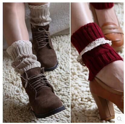 2015 Lace knitted booty Gaiters Boot Cuffs Leg Warmers Ballet Dance Boot stocking burn out Boot Covers Fashion 8 colors #3705