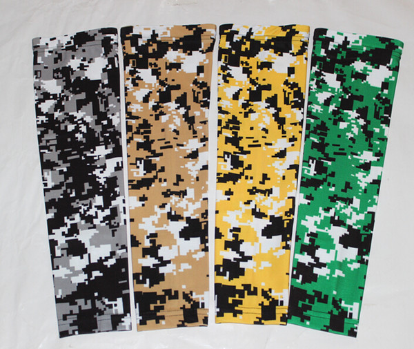 NEW green/yellow/white digital camo arm sleeves baseball Outdoor Sport Stretch Elbow Extended compression sportswear