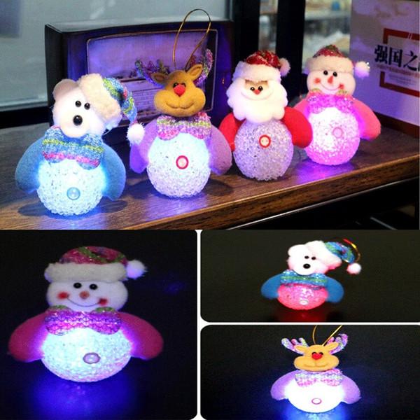2015 Hot Christmas Decoration LED Lighting Flash Xmas Tree Hanging Pendant Gifts Santa Claus/Snowman/ELK /Bear Luminous Ornament