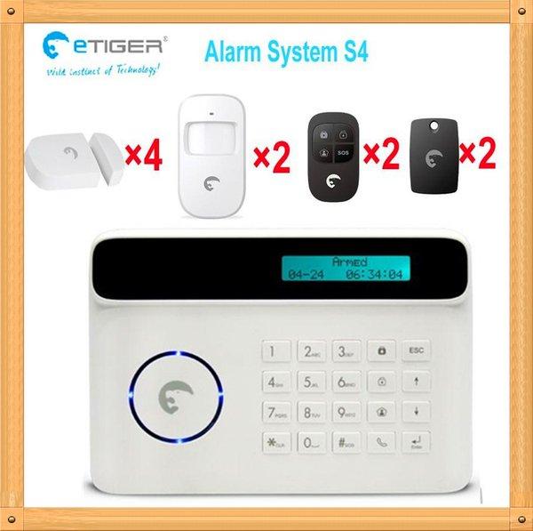 Free shipping DHL, DIY all wireless alarm system kit 4 door contact 2 PIR motion detector etiger S4 set