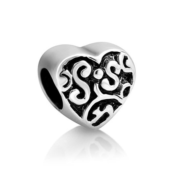 China Factory Heart Shaped Love Sister Metal Slider Bead Big Hole European Spacer Charms Fit Pandora Chamilia Biagi Charm Bracelet