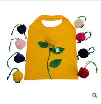 top popular Pretty Artificial Rose Flower Folding Shopping Bags Newest design Valentine's Day Polyester Eco Reusable Friendly Tote pouch Environmen bags 2019