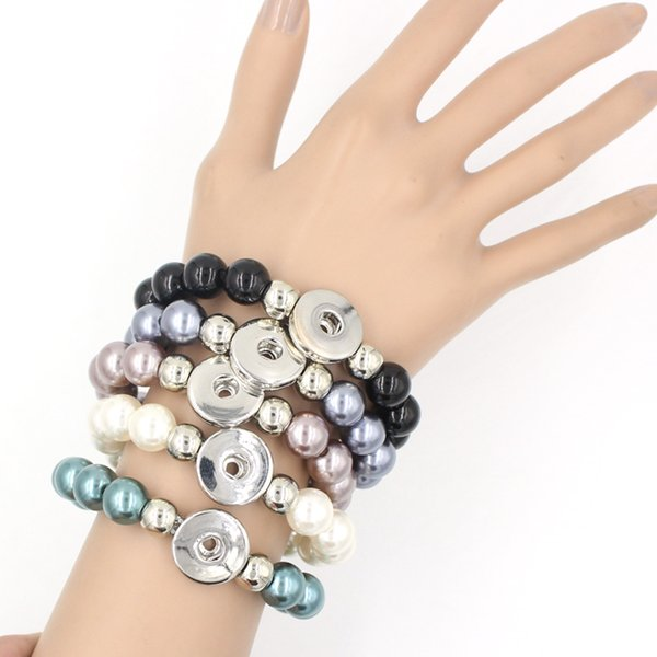 best selling New Arrival 5 Colors 12mm Pearl Metal Button Bracelet for Women Fit Chunky Interchangeable Button Snap Jewelry Wholesale