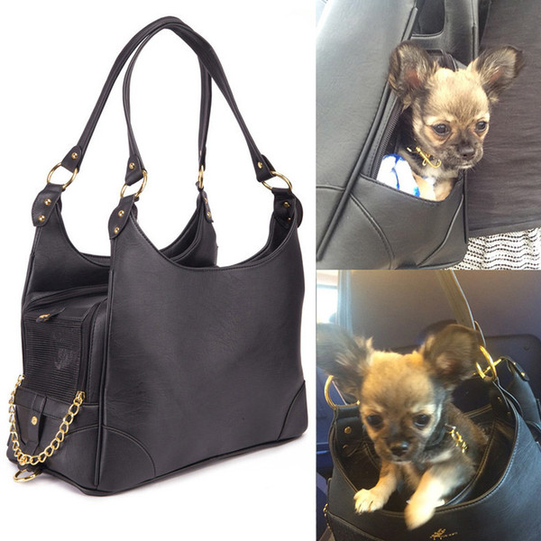Luxury Black Ostrich Pattern Dog Bag Carrier PU Leather Pet Chihuahua Cat Handbag Outside Shoulder for Small Dogs