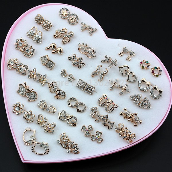 Wholesale 36 Pairs Fashion Women's Mixed Styles Rose Gold Plated Crystal Rhinestone Stud Earrings Wholesale ME156