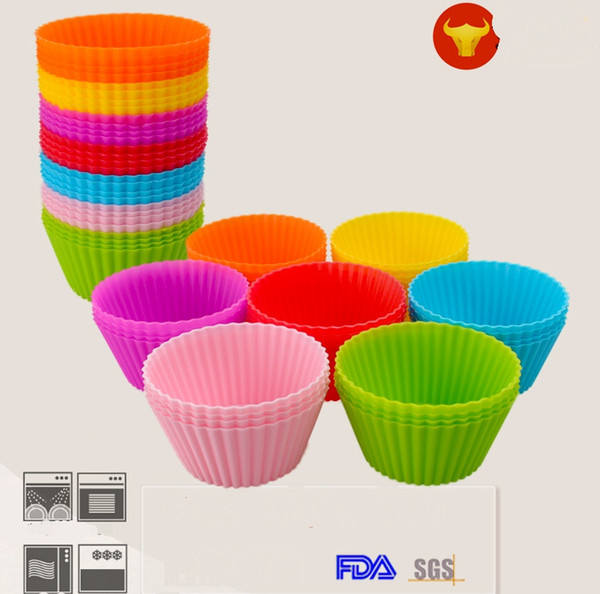 top popular New Fashion 7cm Round shape Silicone Muffin Cases Cake Cupcake Liner Baking Mold 7colors choose freely 2019