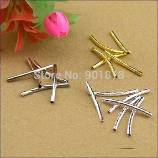 Wholesale-100pcs /lot 2*25mm Gold/ Silver /Rhodium Twist Thread Copper Tube Jewelry Findings Tube Connectors Beads DIY Material F1728-1