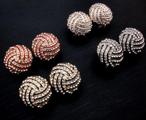 4pair Delicate small seashell striped crystal 18K gold/silver plated stud earrings