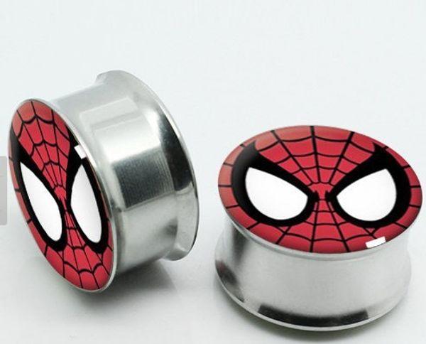 Batman non-Screwed Stainless Steel Logo Ear Plugs Flesh Tunnels Ear Gauge Stretcher Expander,Piercing Jewelry 60pcs mix 6-16mm
