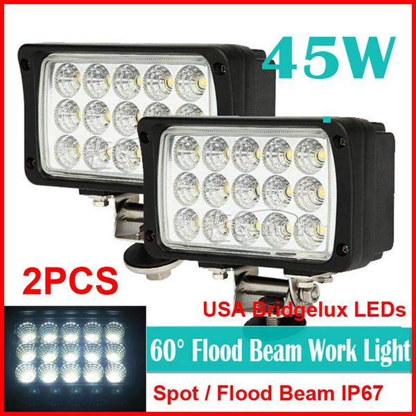 "DHL 2PCS 6"" 45W 15LED*3W USA Bridgelux Chips LED Driving Work Light Offroad SUV ATV 4WD 4x4 Spot / Flood Beam 9-32V 3900lm Rectangle Power"