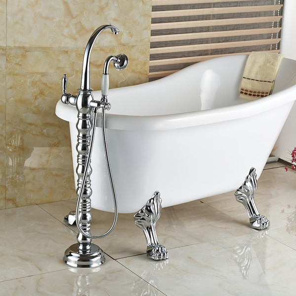 Wholesale And Retail Classic Polished Chrome Brass Bathroom Tub Faucet Neck Goose Spout Tub Filler Cold And Hot Mixer Tap Shower