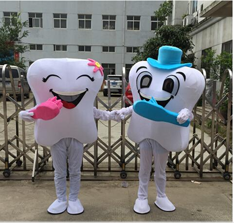 2015 neue Zähne cartoon maskottchen kostüm walking puppenkostüme