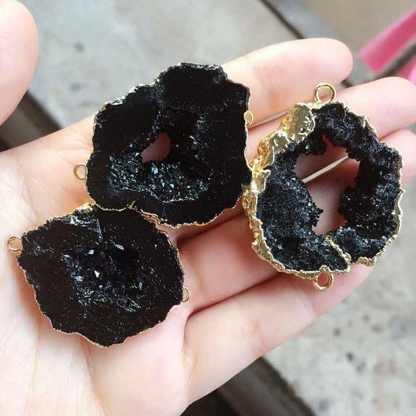 top popular Free shipping 6pcs Gold plated Black color Nature Quartz Druzy Geode connector,Drusy Crystal Gem stone Pendant Beads, Jewelry findings 2019