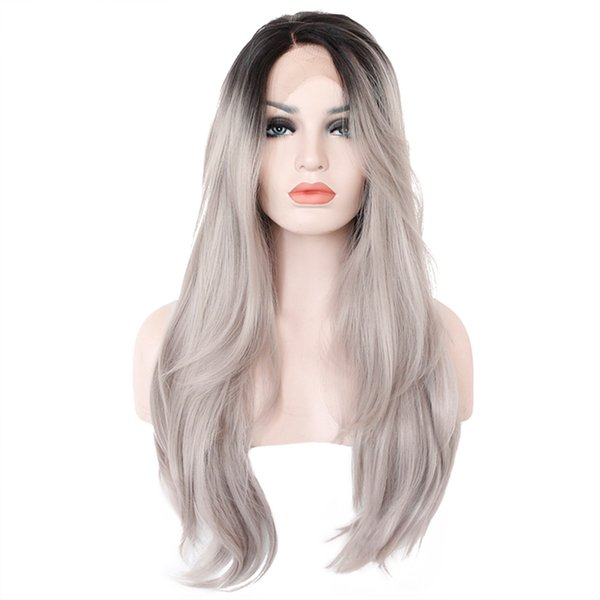Straight Ombre Color Wig 1B/Grey Full Lace Human Hair Wig with Dark Black Roots 100% Brazilian Remy Hair Wig