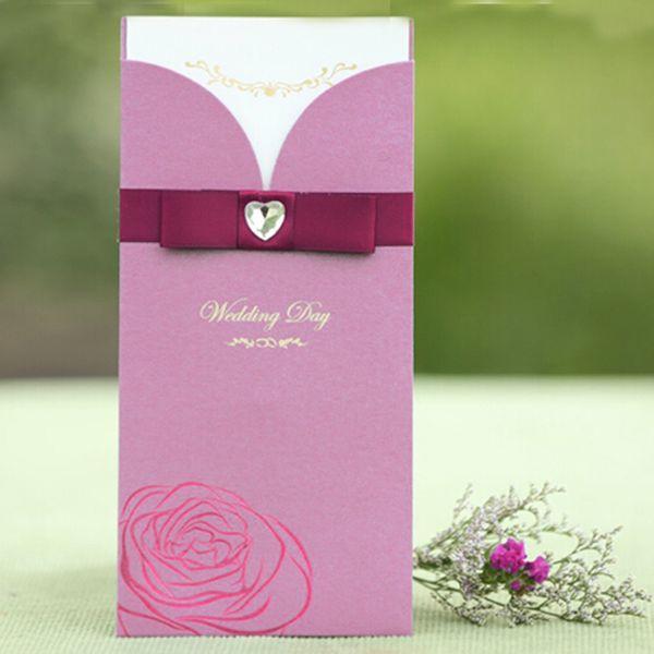 Rectangle Style Wedding Invitations Fashion Customized Invitation Card With Map All Language Free Design Bow Decoration Cheap Wedding Invitation Ideas