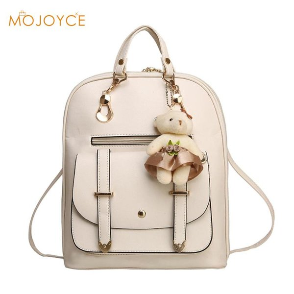 2017 New Casual Girls Backpack PU Leather 8 Colors Fashion Women Backpack School Travel Bag With Bear Doll For Teenagers Girls
