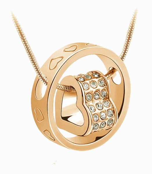 High Quality Gold Plated Snake Chain Fit Rhinestone Heart Pendant Necklaces Jewelry