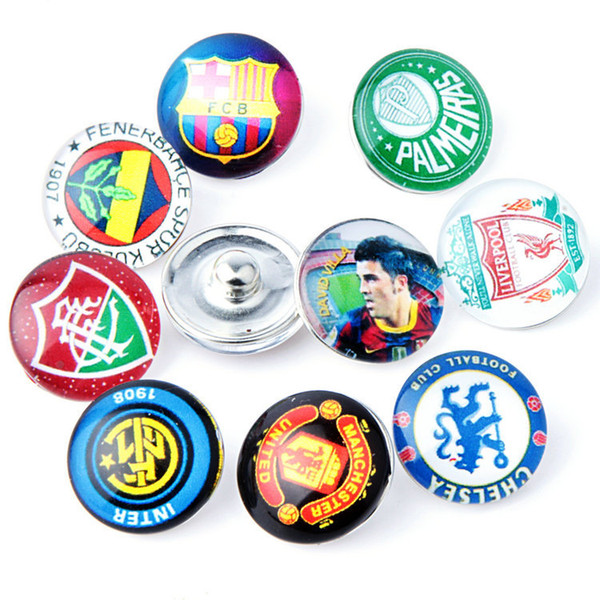 JACK88 Hot 18mm Snaps Button Charm Mix Styles 50pcs/lot About Football Fit Ginger Snap Button Charm Bracelet Jewelry M037