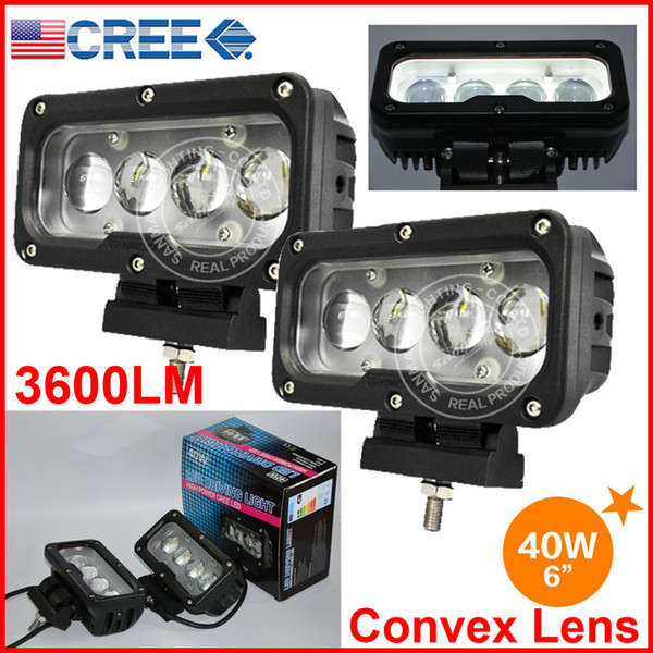 "2PCS 6"" 40W CREE 4LED*10W Driving Work Light Bar Rectangle Offroad SUV ATV 4WD 4x4 Spot Beam 9-60V 3600lm Auto Truck Forklift W/ Convex Lens"