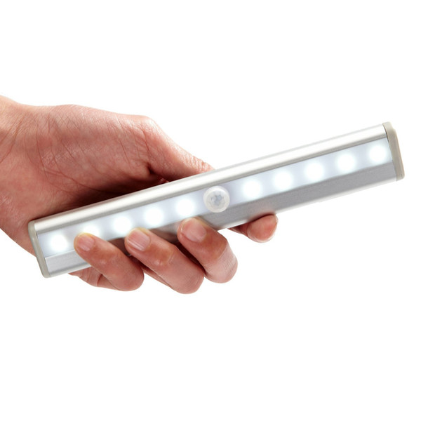 Portable 10 LED Wireless Motion Sensing Closet Cabinet LED Night Light / Stairs Light / Step Light Bar with Magnetic Strip Battery Operated