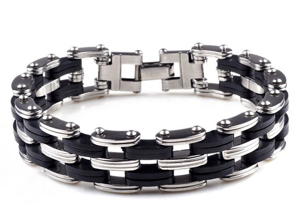 Schwarz Punk Style Edelstahl Silikon Herren Armband Gliederkette Biker Fahrrad Armbänder Männer Schmuck Armband D258L
