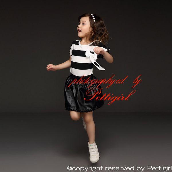 Pettigirl 2016 Summer Girl Clothing Sets Camicie a righe e Gonna in pizzo nero PU per i bambini Adatta ai bambini CS41207-01