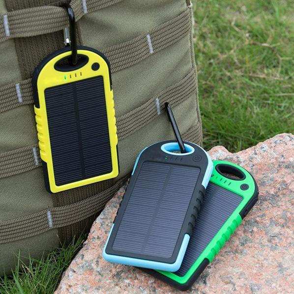2016 NEW 5000mAh 2 USB Port Solar Power Bank Charger External Backup Battery With Retail Box For iPhone iPad Samsung Mobile Phone