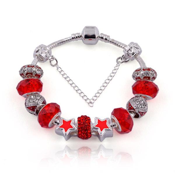Fashion Charm Bracelets Crystal Murano Glass Beads & Enamel Stars DIY Snake Chain Bangle Bracelet for Women BL051