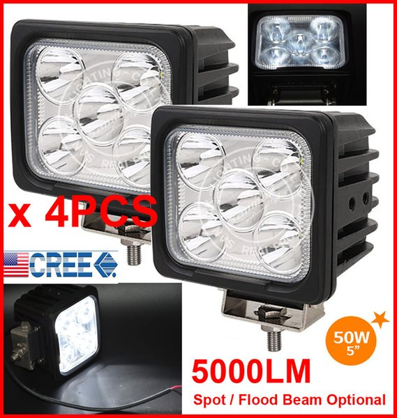 "4PCS 5"" 50W CREE 5LED*10W Driving Work Light Square Offroad SUV ATV 4WD 4x4 Spot / Flood Beam 9-30V 5000lm High POWER Truck Forklift Bright"
